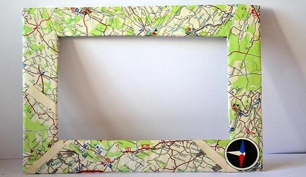 Máte-li zelený pokoj, je stará mapa ideální volbou k ozdobení rámu.