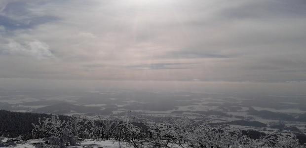Výhled z Ještědu, cíle naší dobrodružné výpravy.