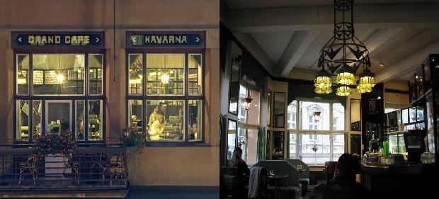 Kavárna Grand Cafe Orient - zvenku a zevnitř.