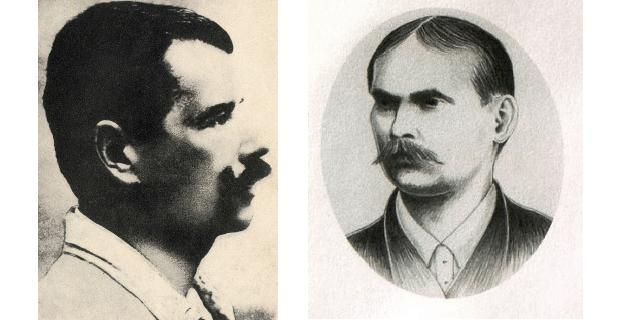 Vlevo Petr Bezruč, vpravo jeho přítel Ondřej Boleslav Petr.