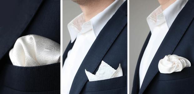 Bílý kapesníček do saka texturovaný.