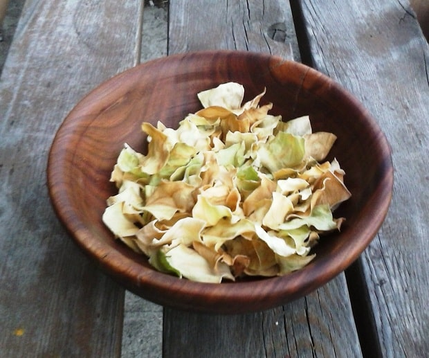 Zelné chipsy promasírované s octem a solí.