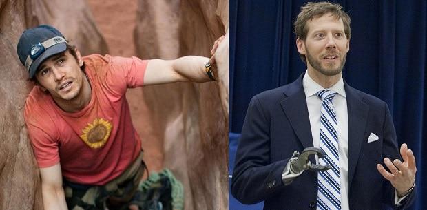 Příběh horolezce Arona Lee Ralstona (vpravo) ztvárnil ve filmu herec James Franco.