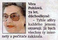 Novinový výstřižek, zdroj: Deník Metro