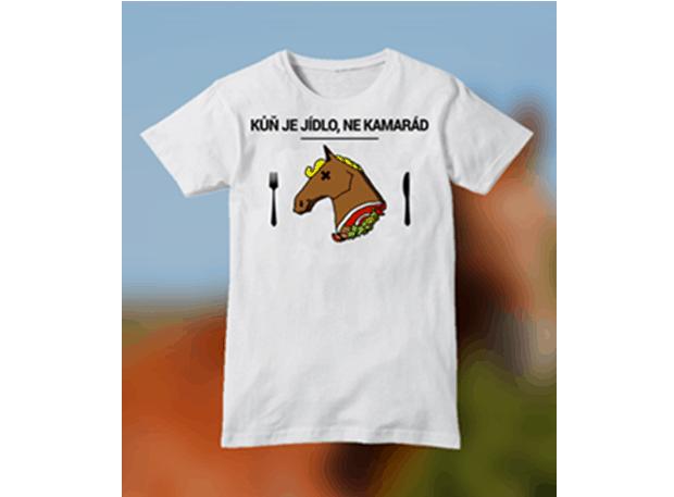 """Vlastní trička stránky """"Kůň je jídlo, ne kamarád""""."""