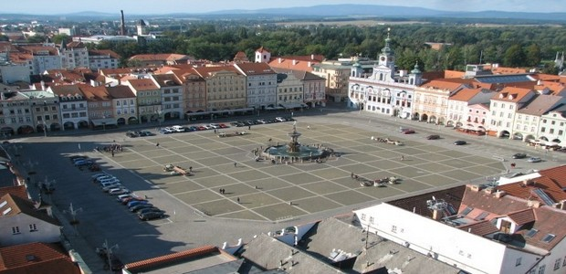 čtvercové náměstí v Českých Budějovicích