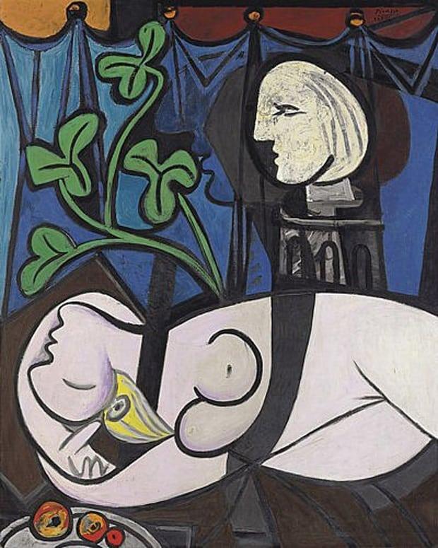 Pablo Picasso - nahá v sochařském ateliéru