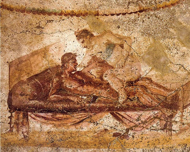 Charakteristická malba značící milostné hrátky.