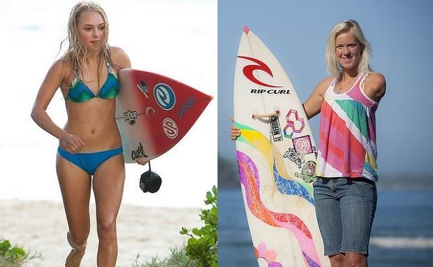 Vlevo herečka AnnaSophia Robb, vpravo surfařka Bethany Hamilton.