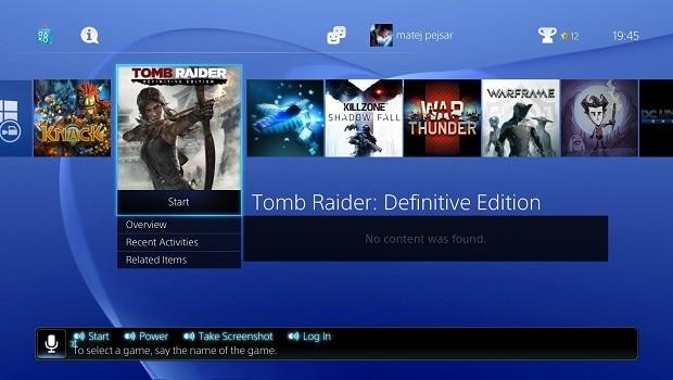 PS4 menu.