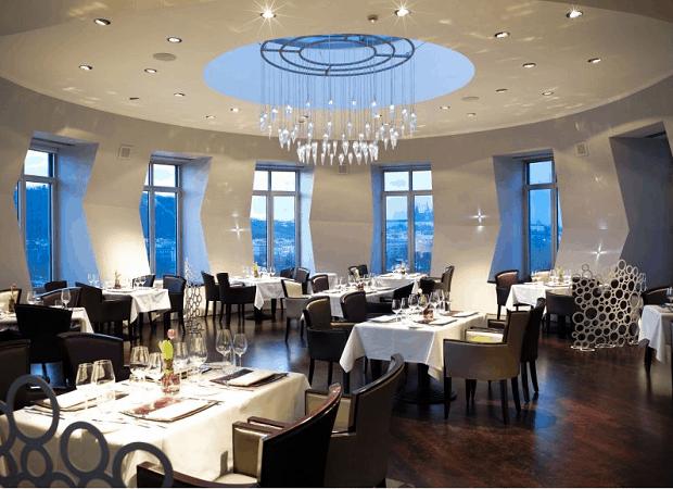Restaurace v nejvyšším patře Tančícího domu.