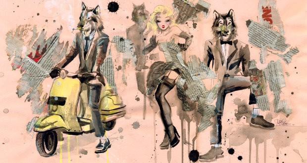 Koláž inspirovaná módou mods.