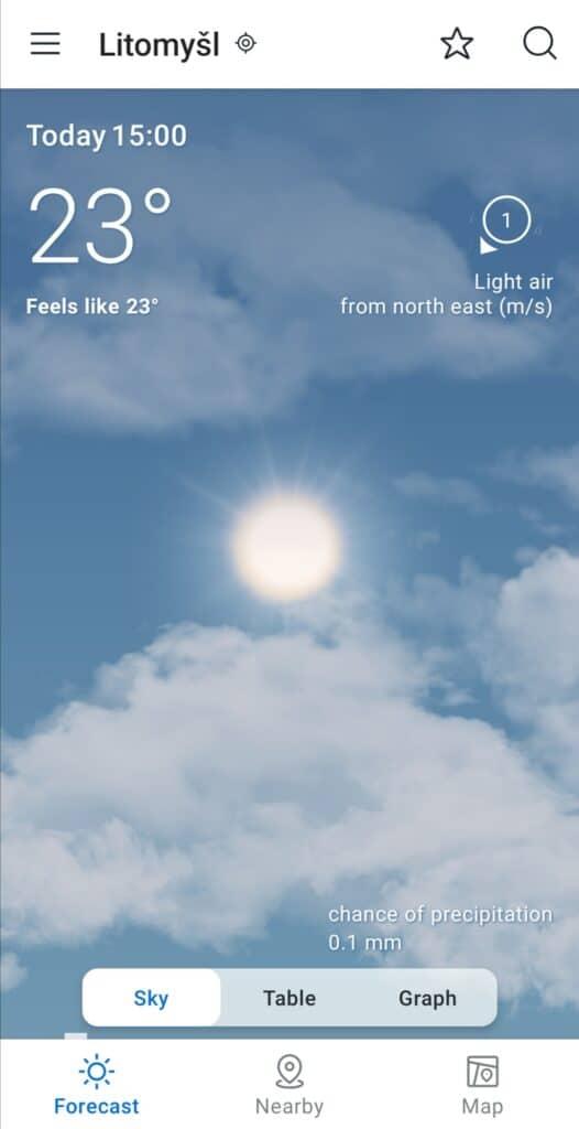 aplikace na počasí YR